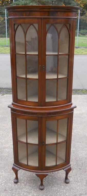 Superior Tall Mahogany Bowfront Corner China Display Cabinet