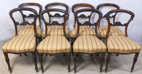 set of eight victorian rosewood dining chairs by london maker