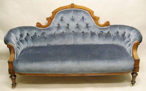 victorian inlaid walnut upholstered settee