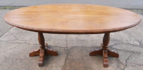 large oval oak dining table 2