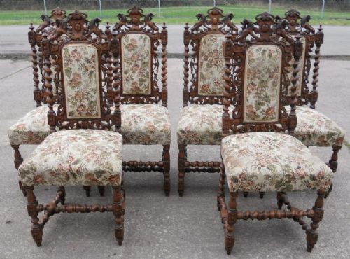 Set Of Six Victorian Carved Oak Highback Dining Chairs Antique Photo