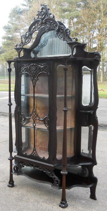 victorian ebonized mirrorback china display cabinet - photo angle #2