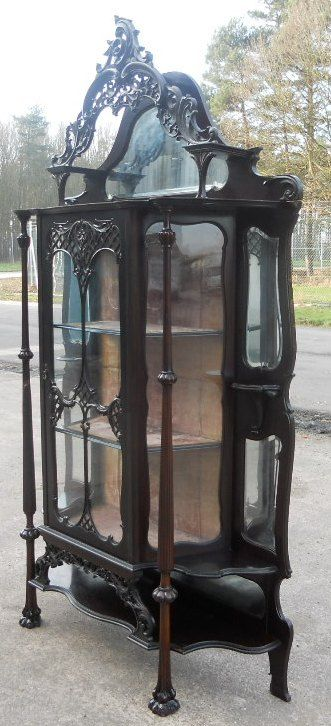 victorian ebonized mirrorback china display cabinet - photo angle #3