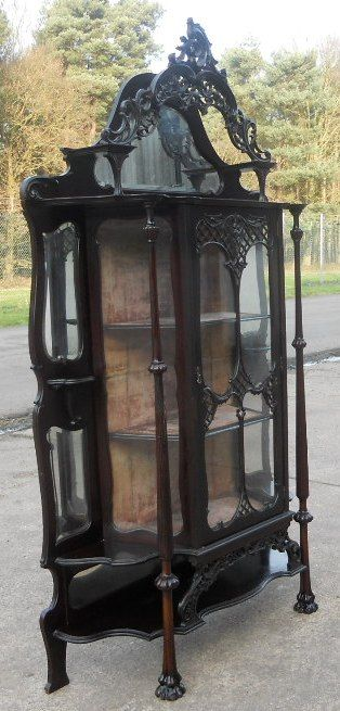 victorian ebonized mirrorback china display cabinet - photo angle #4