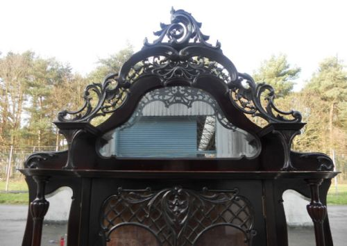 victorian ebonized mirrorback china display cabinet - photo angle #5