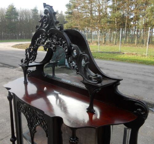 victorian ebonized mirrorback china display cabinet - photo angle #6