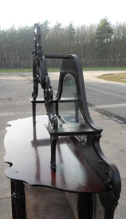 victorian ebonized mirrorback china display cabinet - photo angle #7