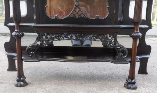 victorian ebonized mirrorback china display cabinet - photo angle #8