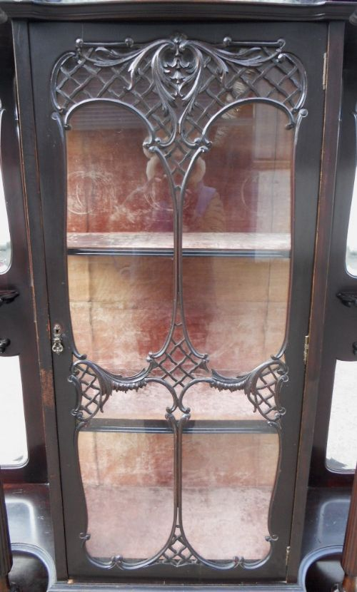 victorian ebonized mirrorback china display cabinet - photo angle #9