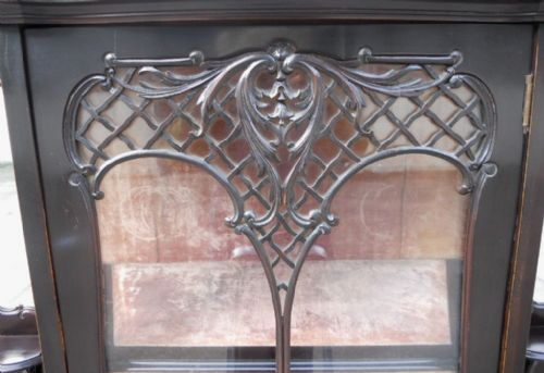victorian ebonized mirrorback china display cabinet - photo angle #11