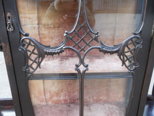 victorian ebonized mirrorback china display cabinet - photo angle #12