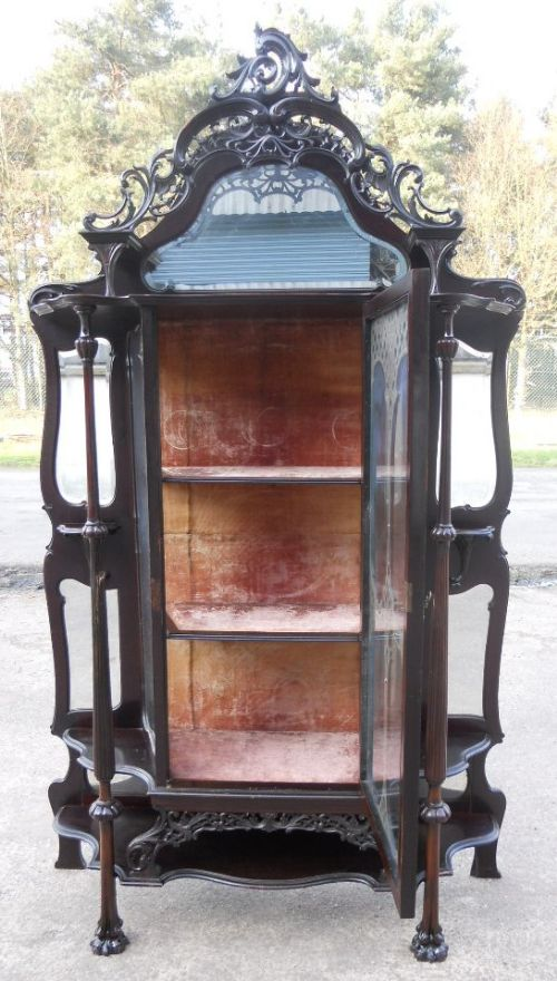 victorian ebonized mirrorback china display cabinet - photo angle #13