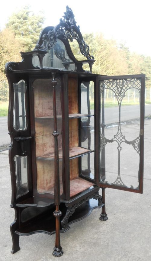 victorian ebonized mirrorback china display cabinet - photo angle #14
