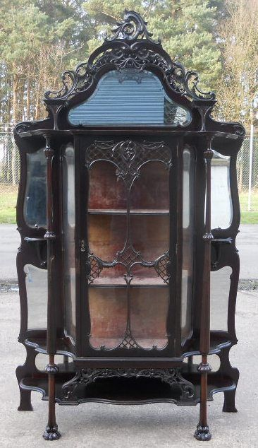 victorian ebonized mirrorback china display cabinet - photo angle #15