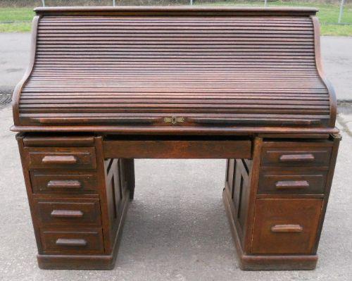 large panelled oak rolltop desk