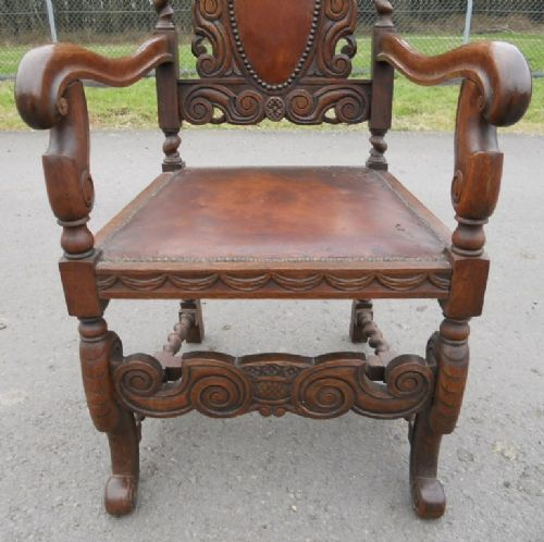 Set Of Five Victorian Heavily Carved Oak Dining Chairs