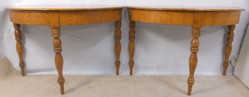 pair victorian maple wood half round console tables