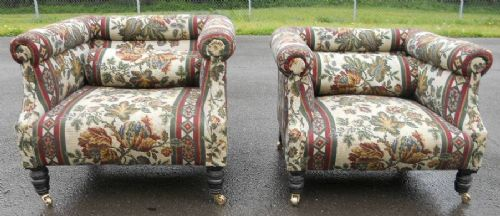 pair edwardian upholstered low tub armchairs