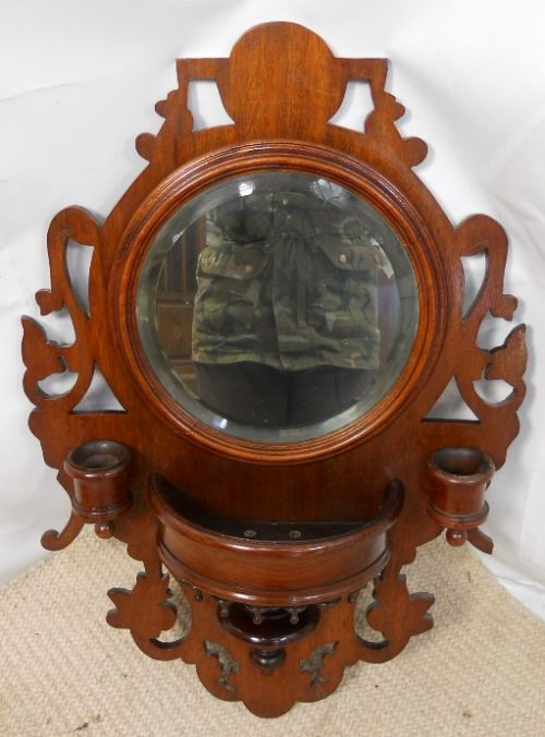 small edwardian ornate mahogany framed hanging wall mirror