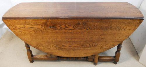 Large Oak Circular Top Gateleg Dining Table To Seat Ten
