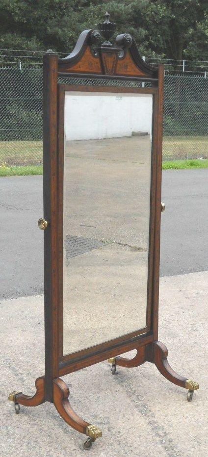 georgian style mahogany satin wood cheval robing mirror on stand