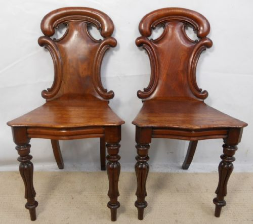pair victorian mahogany hall chairs