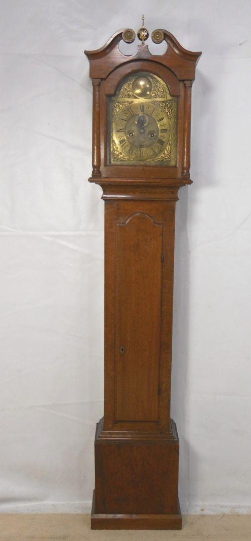 georgian brass face eight day oak case grandfather clock