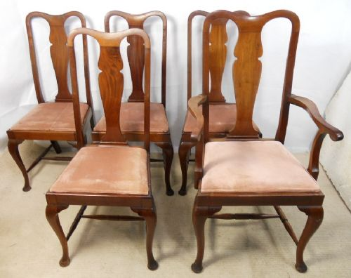 Set Of Five Queen Anne Style Mahogany, Queen Anne Mahogany Dining Chairs