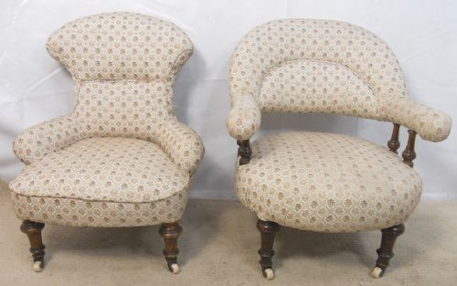 two victorian upholstered nursing chairs