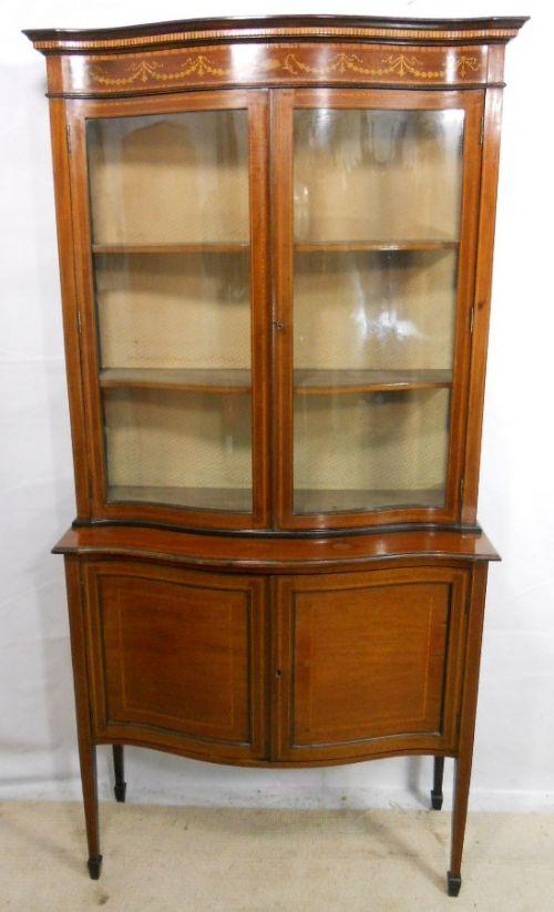 edwardian inlaid mahogany serpentine front china display cabinet