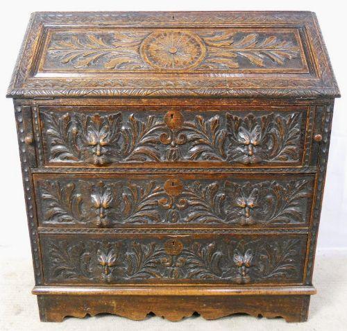 victorian heavily carved dark oak writing bureau 269262. Black Bedroom Furniture Sets. Home Design Ideas