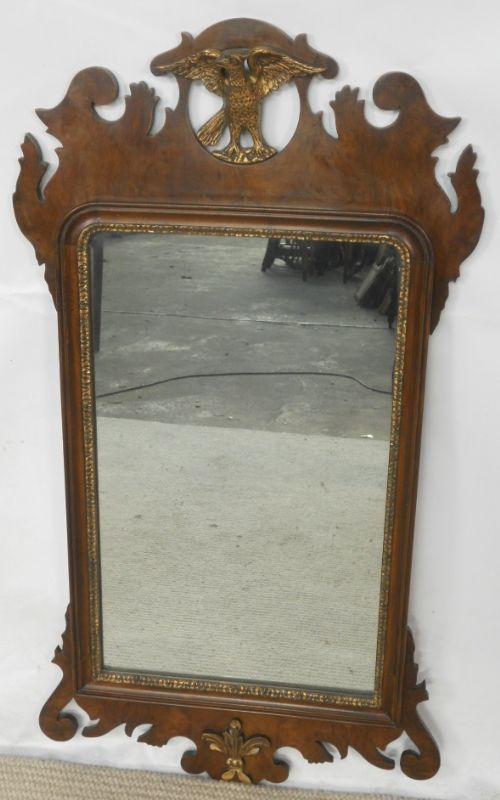georgian style walnut hanging wall mirror