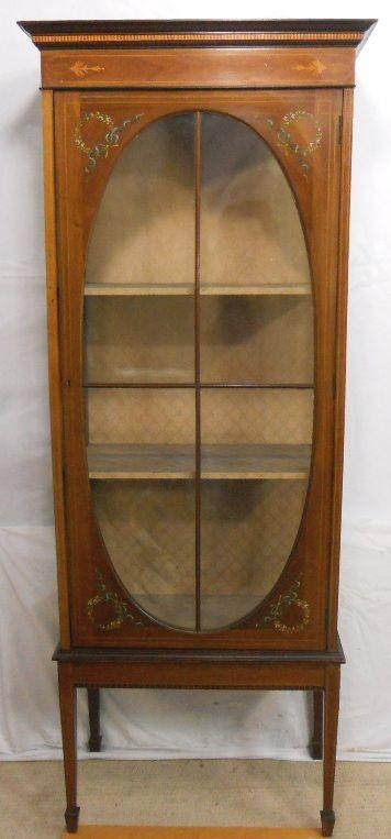 edwardian tall inlaid mahogany china display cabinet