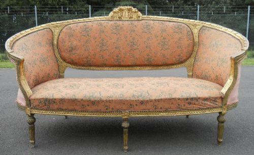 large regency gilt frame three seater settee