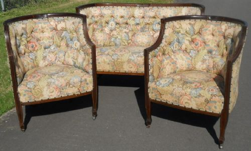 edwardian inlaid mahogany three piece boudoir suite for reupholstery