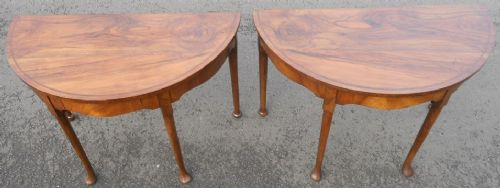 pair georgian style bowfront walnut console tables