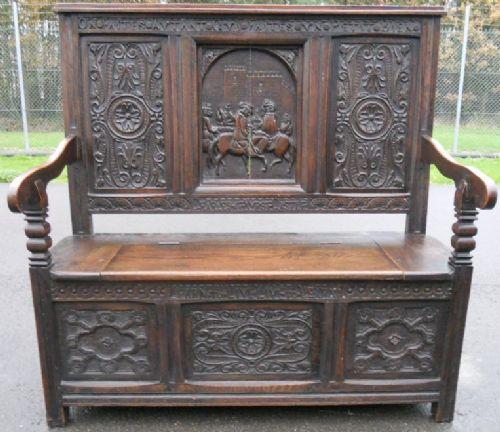 victorian heavily carved oak hall settle