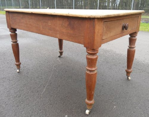 victorian pine fruitwood base kitchen table