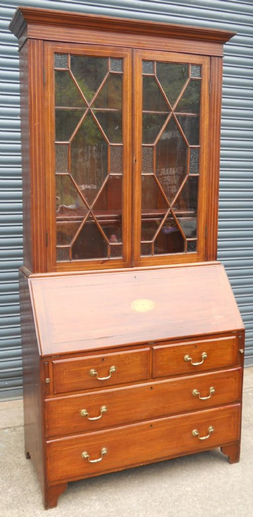 georgian inlaid mahogany bureau bookcase