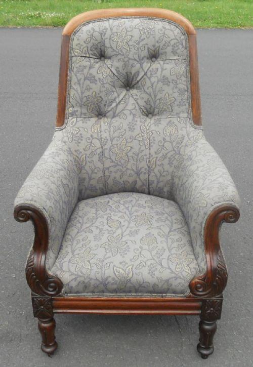 victorian mahogany framed upholstered armchair