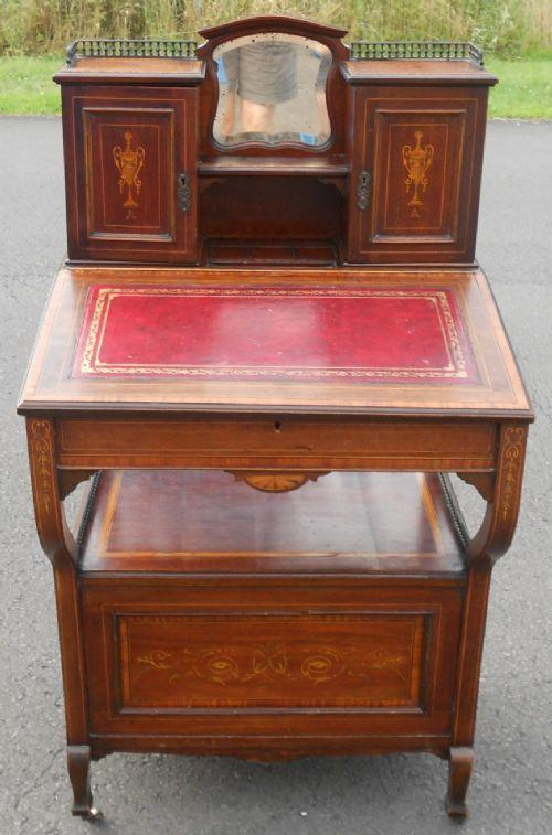 edwardian inlaid mahogany davenport desk