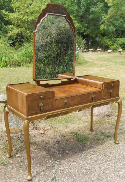 burr walnut kneehole dressing table by maple co