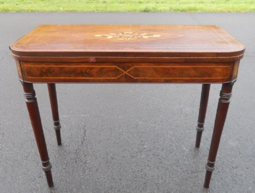 georgian inlaid mahogany fold over tea table
