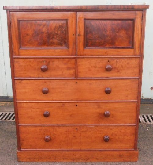 victorian tall mahogany chest of drawers