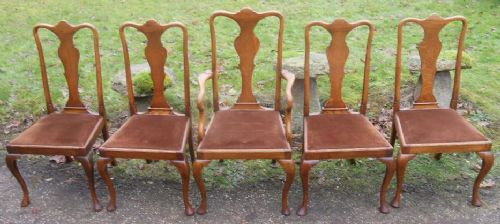 Cool Set Of Five Queen Anne Style Golden Oak Dining Chairs Dailytribune Chair Design For Home Dailytribuneorg
