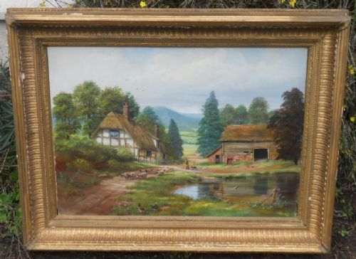 oil painting countryside scene by g r vaughan