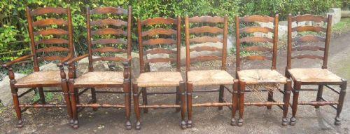 set of six antique elm beech ladderback dining chairs