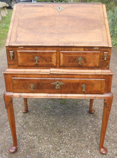 queen anne style small walnut bureau on stand