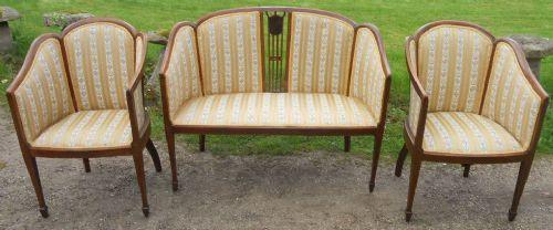 edwardian inlaid mahogany three piece salon suite