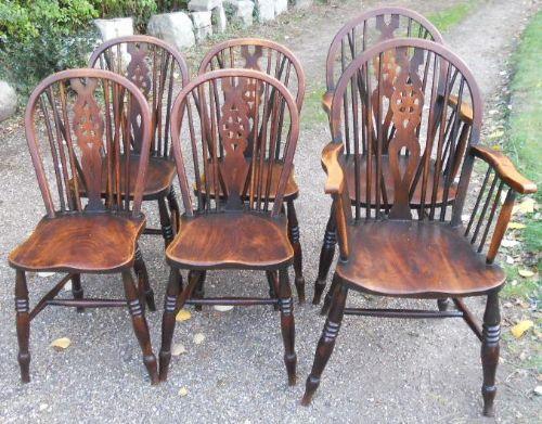 set of six antique elm wheelback kitchen chairs